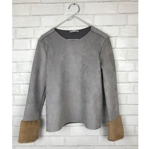 Zara grey faux suede fur cuff top small